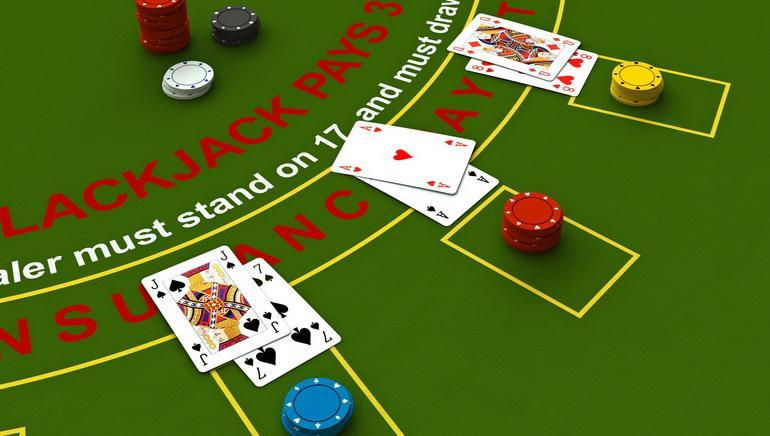 Una típica mesa de blackjack